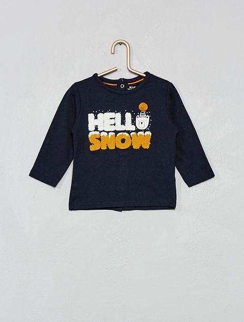 T-shirt 'Eco-conception' détail bouclette                                                                                                                 bleu marine Bébé garçon