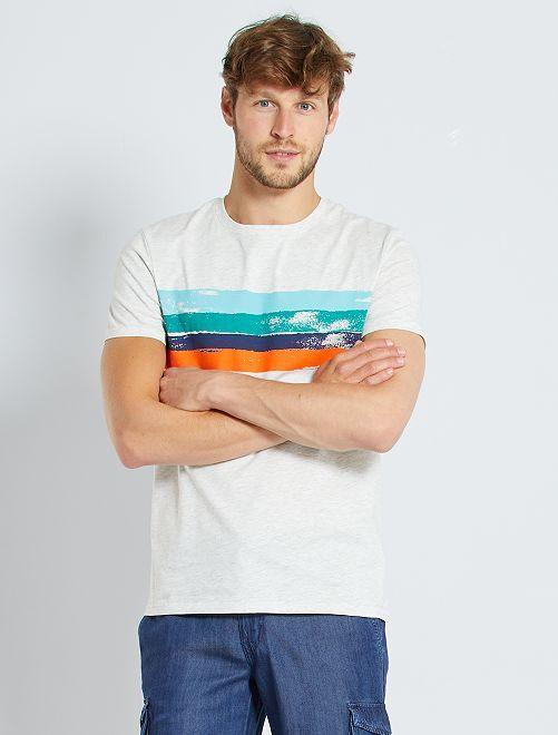 T-shirt 'éco-conception'                                                     gris chiné clair/lignes