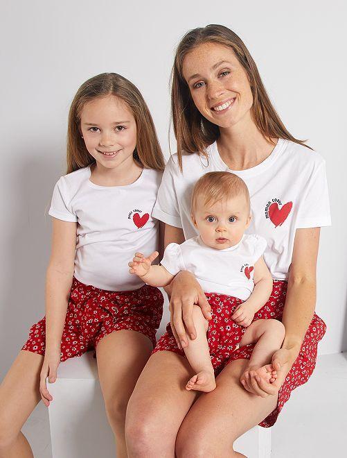 T-shirt 'éco-conception' imprimé cœur                                                         blanc cœur