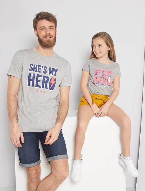 T-shirt 'éco-conception' imprimé                                                                                         gris chiné héros