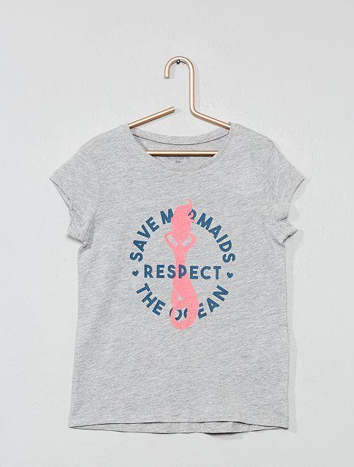 T-shirt 'Eco-conception' imprimé                                                                             gris chiné sirène Fille
