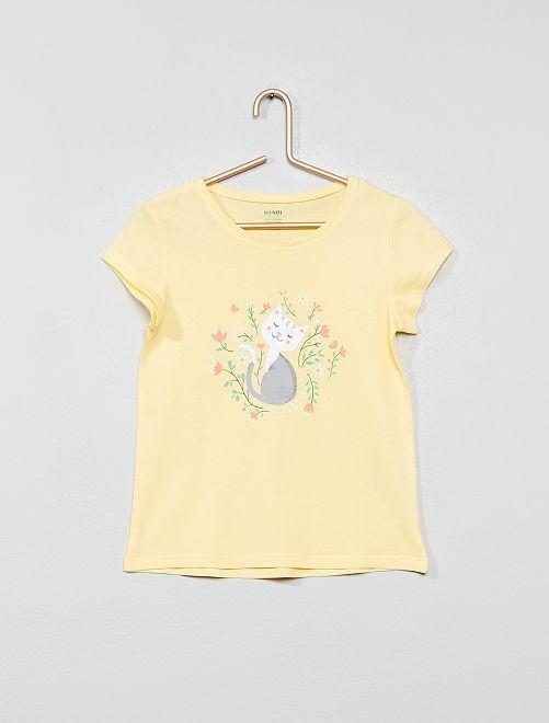 T-shirt 'Eco-conception' imprimé                                                                             jaune chat Fille