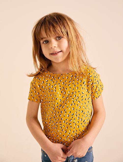 T-shirt 'Eco-conception' imprimé                                                                             jaune Fille