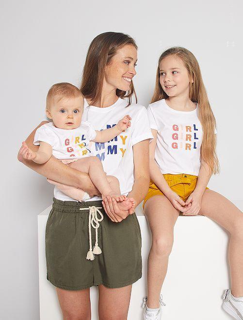 T-shirt 'éco-conception' imprimé 'Mummy'                                                                 blanc mummy