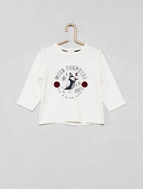 T-shirt 'Eco-conception' imprimé 'oiseau'                                                                                                                 écru