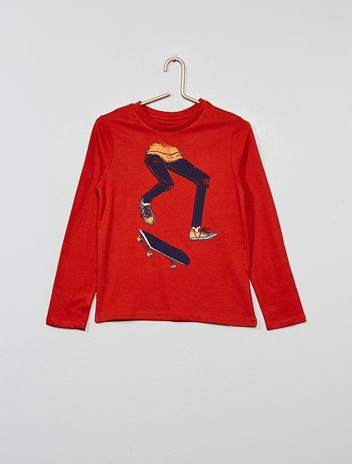 T-shirt 'Eco conception' imprimé                                                                                                     orange ketchup Garçon