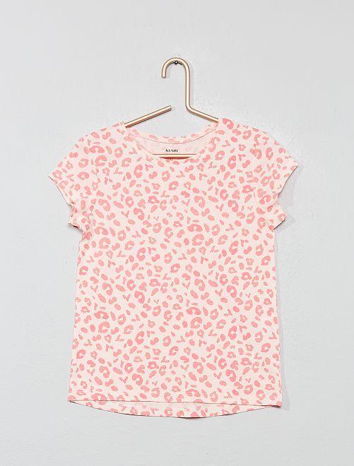 T-shirt 'Eco-conception' imprimé                                                                             rose léopard Fille