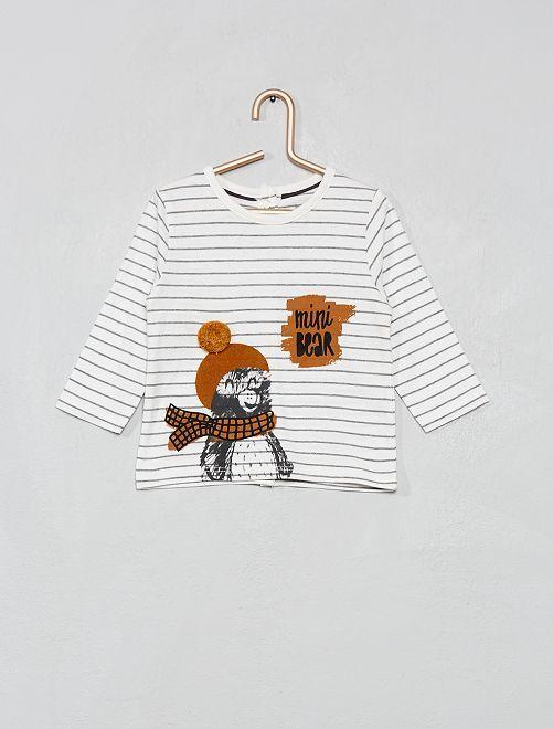 T-shirt 'Eco-conception' rayures et bouclettes                                                                                                                 écru