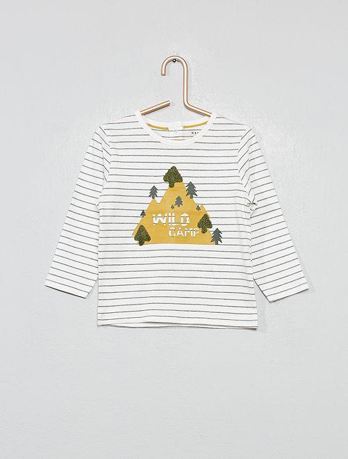 T-shirt 'Eco-conception' rayures et bouclettes                                                                                                                 écru/gris rayé
