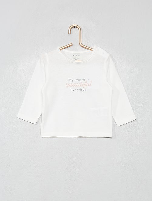 T-shirt 'éco-conçu' à message                                                                                         blanc