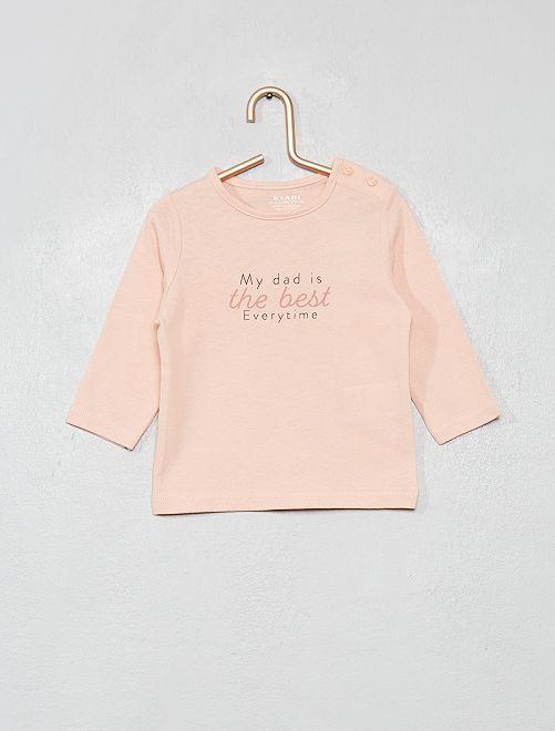 T-shirt 'éco-conçu' à message                                                                                         rose pâle