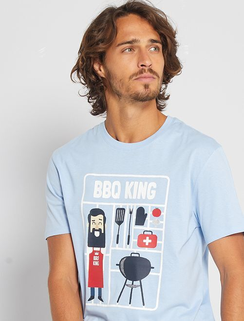T-shirt éco-conçu 'BBQ'                                                                                                                                                                                                                                         bleu bbq