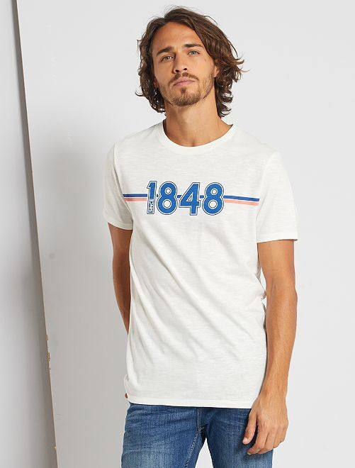 T-shirt éco-conçu                                                                                                                     blanc cassé/bleu