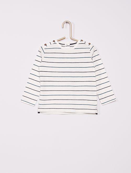 T-shirt éco-conçu                                                     blanc rayé
