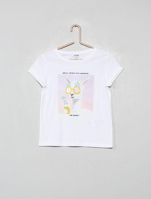 T-shirt éco-conçu                                                                                                                 blanc/lama