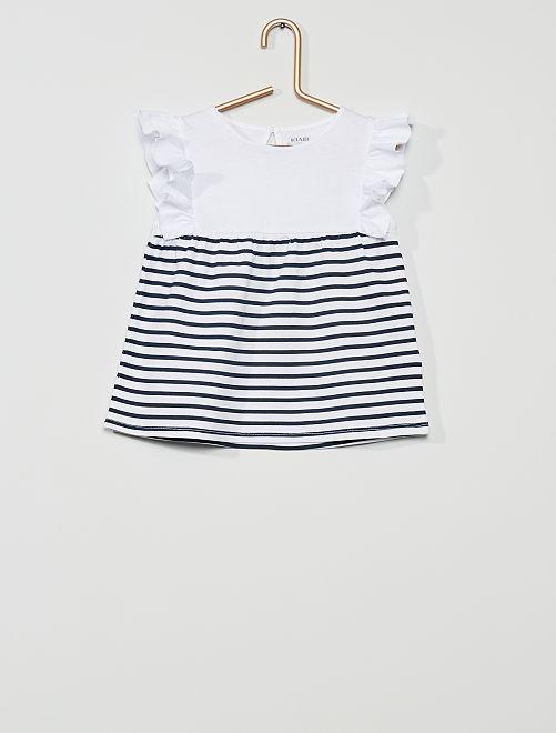 T-shirt 'éco-conçu'                                                                                                                 blanc/rayé bleu