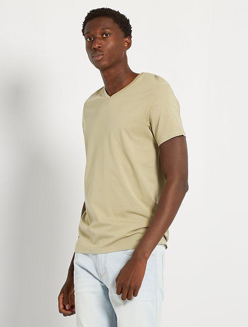T-shirt éco-conçu col V                                                                                                                                                                                                                                         kaki clair