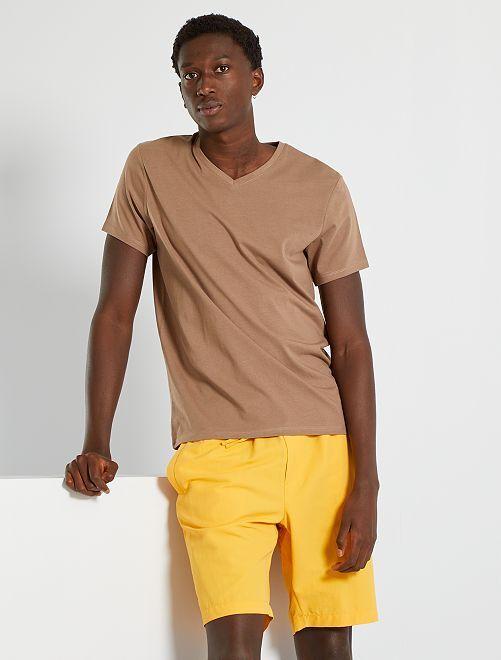 T-shirt éco-conçu col V                                                                                                                                                                 marron clair