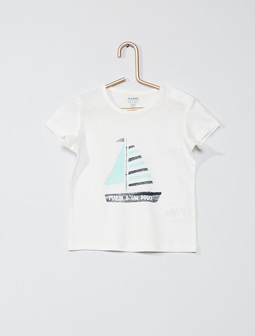 T-shirt 'éco-conçu'                                                                                                                                                     écru/bateau
