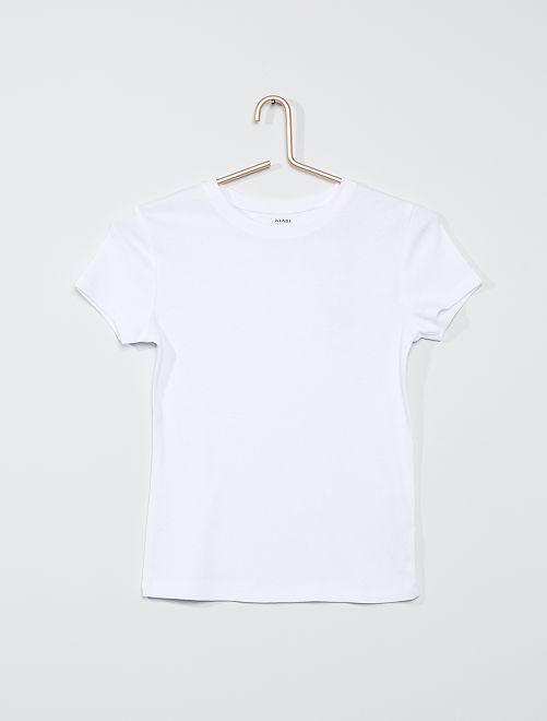 T-shirt éco-conçu en maille côtelée                                                                             blanc