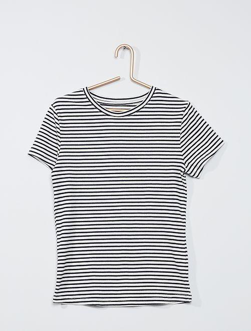 T-shirt éco-conçu en maille côtelée                                                                 bleu/blanc rayé