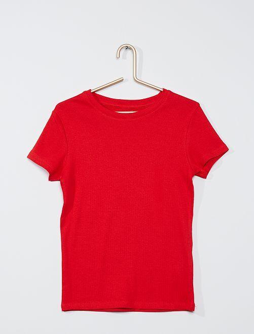 T-shirt éco-conçu en maille côtelée                                                                             rouge