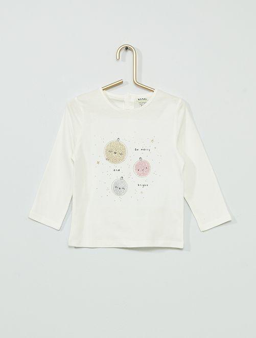 T-shirt éco-conçu esprit 'noël'                                                                 blanc