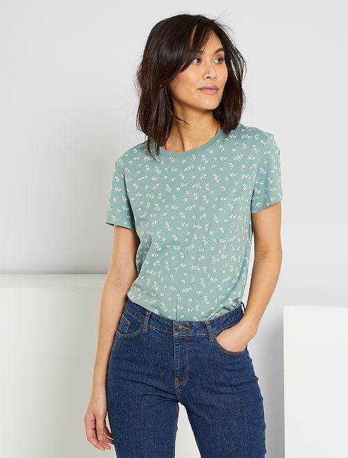 T-shirt éco-conçu 'fleurs'                                                                                                                                                                                                                                                                                                                 vert amande