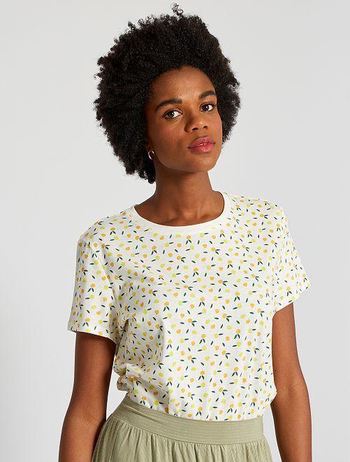 T-shirt éco-conçu 'fruits'                                                                                                                                                                                                                                                                                                                                                                             écru fruit
