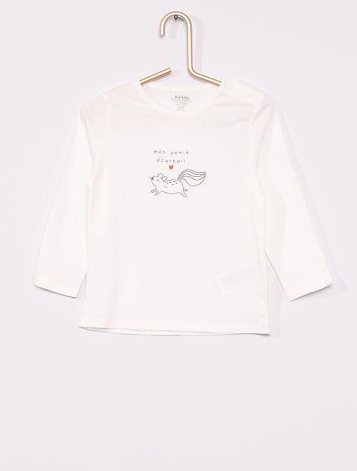 T-shirt éco-conçu imprimé                                                                                                                 blanc écureuil