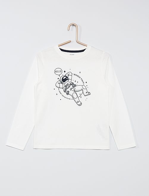 T-shirt éco-conçu imprimé                                                                                                                                         blanc