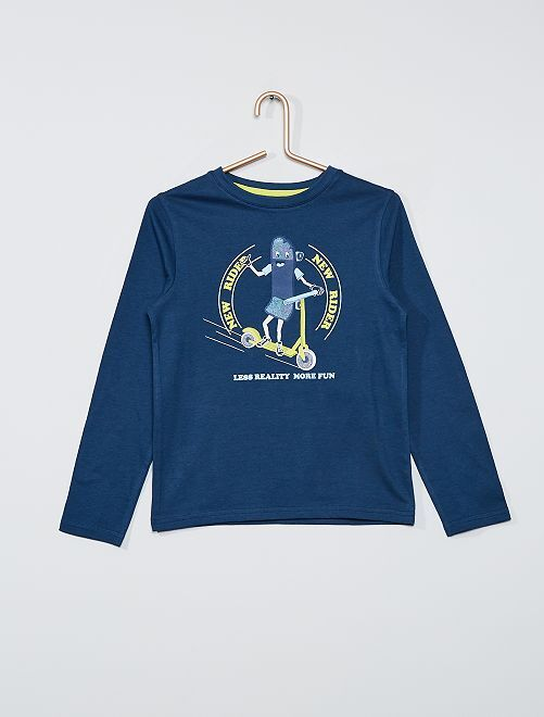 T-shirt éco-conçu imprimé                                                                                                                                                                             bleu