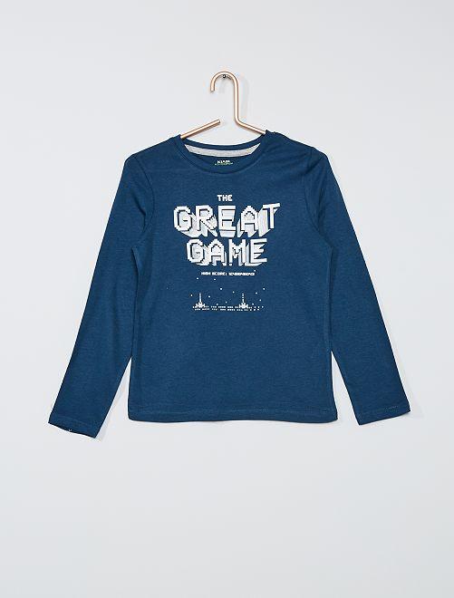 T-shirt éco-conçu imprimé                                                                                                                                         bleu jeu