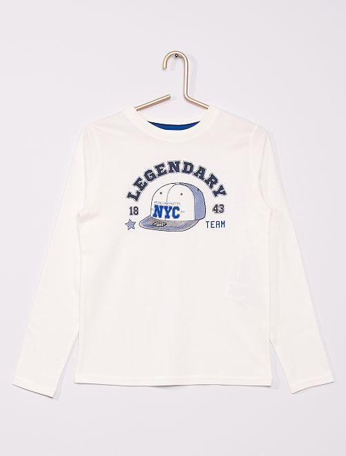 T-shirt éco-conçu imprimé                                                                                                                                                                 écru