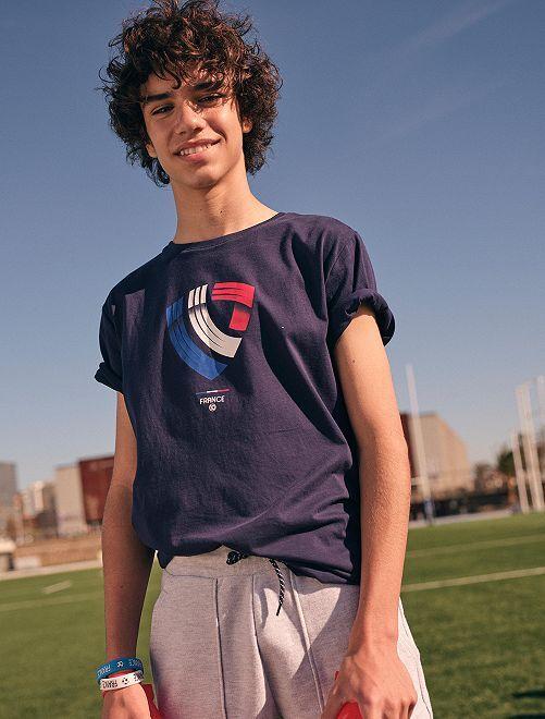 T-shirt éco-conçu imprimé foot France                                                                 bleu France