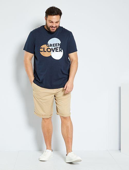 T-shirt éco-conçu imprimé graphique                                         bleu marine
