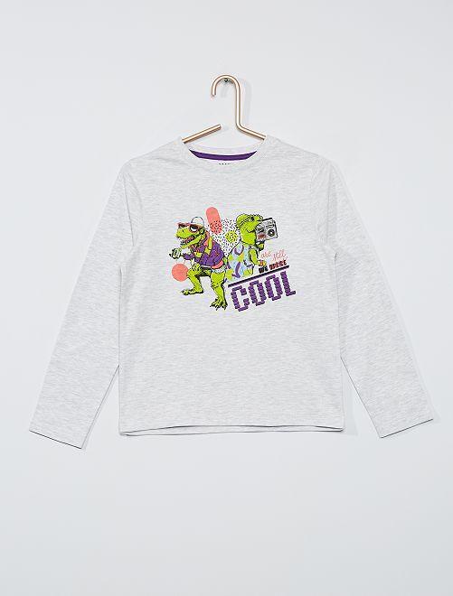 T-shirt éco-conçu imprimé                                                                                                                                                                             gris dino