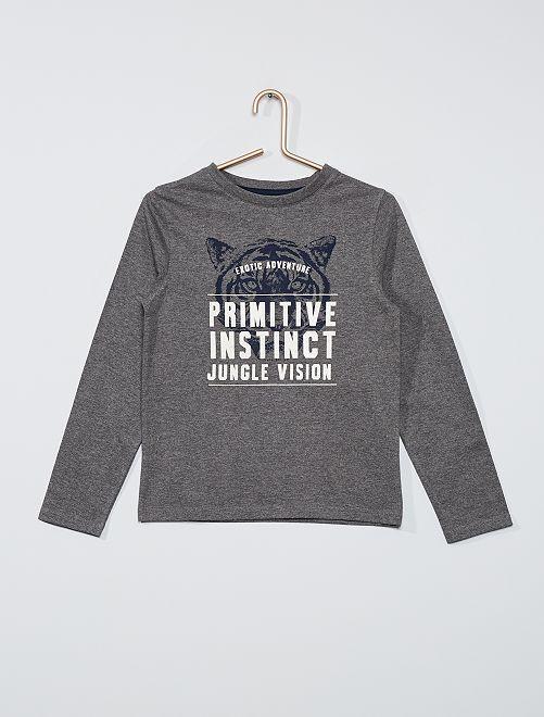T-shirt éco-conçu imprimé                                                                                                                                                     gris tigre