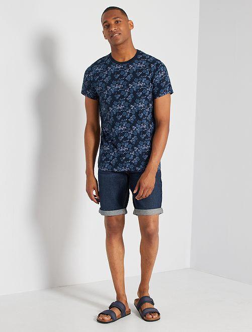 T-shirt éco-conçu imprimé                                                                             marine fleurs
