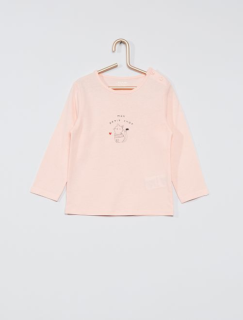T-shirt éco-conçu imprimé                                                                                         rose chat