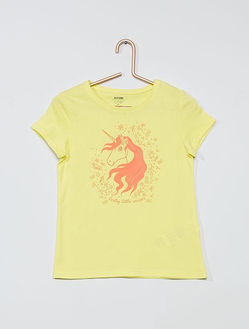 T-shirt éco-conçu 'licorne'                                                                                                                 jaune/licorne