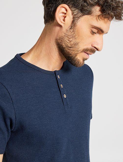 T-shirt éco-conçu maille piquée                                                                                         bleu foncé