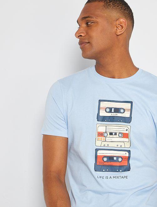 T-shirt éco-conçu 'mixtape'                                                                                                                                                                                                                                                                 bleu mixtape