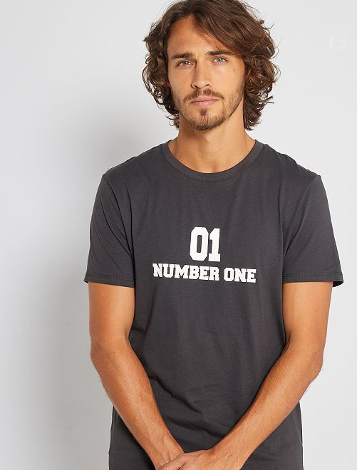 T-shirt éco-conçu 'Number One'                                                                                                                 gris foncé number