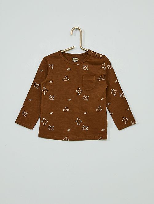 T-shirt éco-conçu 'oiseaux'                             marron