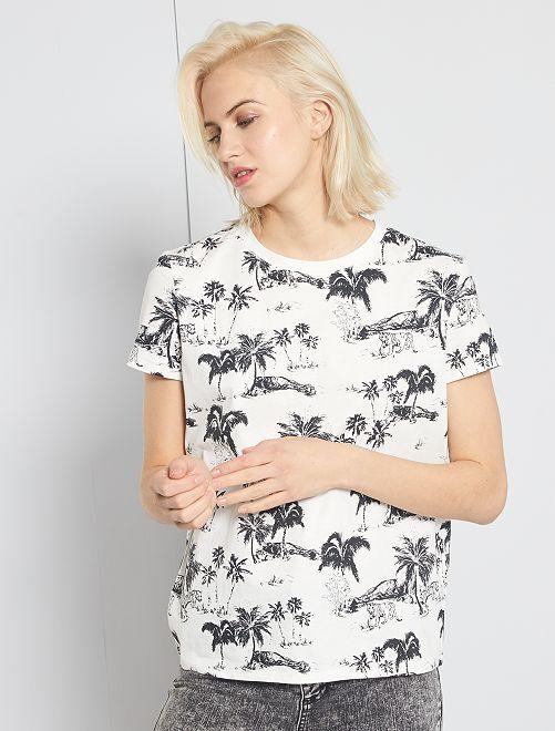 T-shirt éco-conçu 'palmiers'                                                                                                                                                                                                                                                                             blanc/palmiers