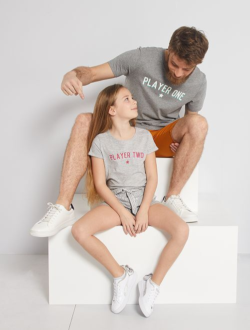T-shirt éco-conçu 'Player Two'                             gris chiné player