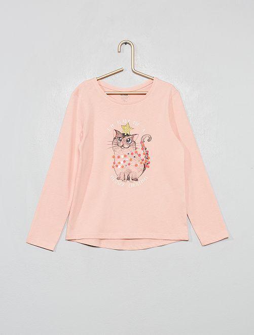 T-shirt éco-conçu                                                                 rose chat