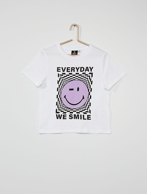 T-shirt éco-conçu 'Smiley World'                             blanc