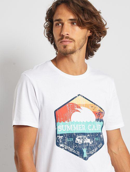T-shirt éco-conçu 'summer camp'                                                                                                                                                                                                                 blanc summer